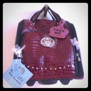 Kathy Van Zeeland Under-Seat Croco Rolling Bag